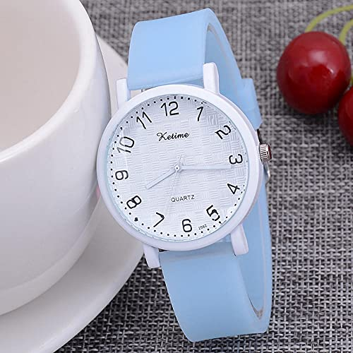 Reloj Infantil,New Children's Watch Trend Student Women's Student's Student Watch Digital Silica Bruberite Damas Watch-Azul Claro