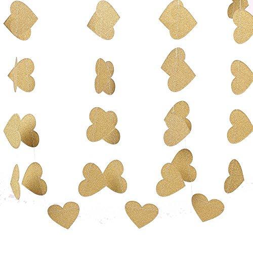 ZooYoo - Guirnalda de Papel con Purpurina en Forma de corazón con Puntos para Colgar en la decoración, en Forma de corazón y Suministros para Fiestas, 5 cm de Alto, 3 m de Color Dorado