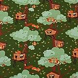 Loopomio Jersey Stoffe Eichhörnchen Nussknacker grün