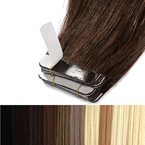 55cm Tape in Extensions Echthaar Remy Human Hair Haarverdichtung Haarverlängerung glatt 50g - 20 stück (#2 dunkelbraun)
