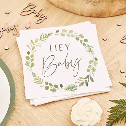 Ginger Ray Botanical Baby Shower Papierservietten, 16 Stück