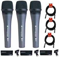 Sennheiser 3x e 835 Wired Cardioid Handheld Dynamic Lead Vocal Stage Microphone with Clip - With 3x Pyle PPMCL15 15ft Symmetric Microphone Cable, XLR Female to XLR Male