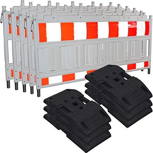 5X Euro-Schrankenzaun Bauzaun Baustellenzaun Absturzsicherung Baustelle Absperrzaun Set mit TL- Fußplatten