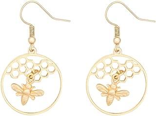 Fashion Women Girls Little Honeybee with Honeycomb Hive Hoop Earring Chic Dangle Jewelry