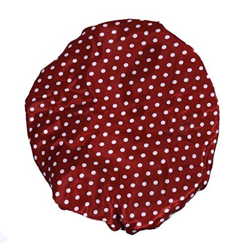 Bonnet de Douche Réutilisable Couverture de Cheveux Satin Spa - Rouge avec Motif Pois