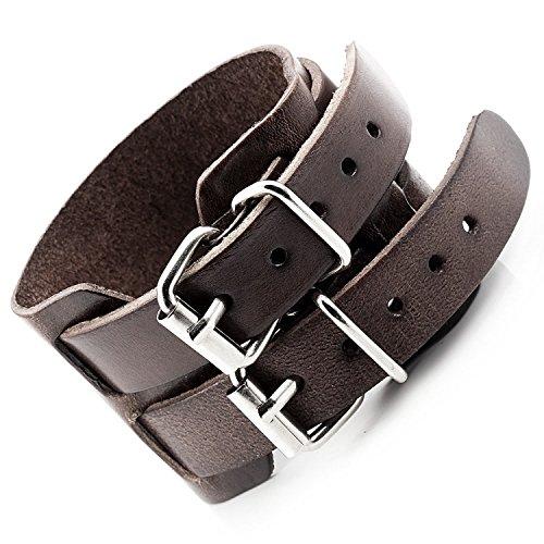 Mendino pour homme exceptionnelle vintage Marron Large ceinture Style réglable Bracelet en cuir véritable Bracelet