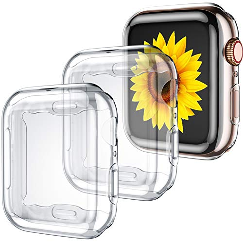 GEAK 3 Pack Compatible with Apple Watch Case 42mm,Soft HD High Sensitivity Screen Protector with TPU All Around Anti-Fall Bumper Protective Case Cover for iWatch Series 3/2/1 42mm(3 Clear)