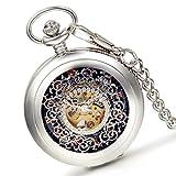 lancardo Fashion tallado de flores esqueleto carcasa con esqueleto Dial Oro Tono movimientos reloj de bolsillo con cadena (plata)
