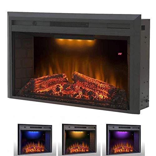 HEATER Chimenea eléctrica empotrada y montada en la pared 1500W chimenea y chimenea lineal con temporizador multicolor llamas pantalla táctil control remoto fuego eléctrico