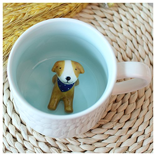 3D-Kaffeetasse mit Tiermotiv, 340 ml mit Hund, niedliche Cartoon-Handarbeit, Keramik-Tassen, Morgen-Tassen