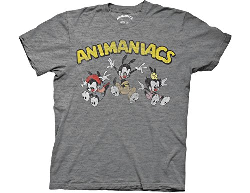Ripple Junction Animaniacs Animaniacs Jumping Group with Logo Adult T-Shirt Medium Heather Platinum