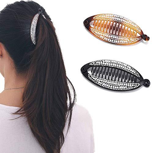 Runmi Clips para el pelo de banana negro peine, clips de cristal de plátano, accesorios para el pelo para mujeres y niñas (paquete de 2)