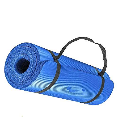 Smallrun Alfombra yoga pilates gruesa Esterilla Pilates Antideslizante 10mm Alfombrilla de Yoga Colchoneta de Yoga Esterilla Deporte Fitness 183x61x1cm (10MM-Azul)