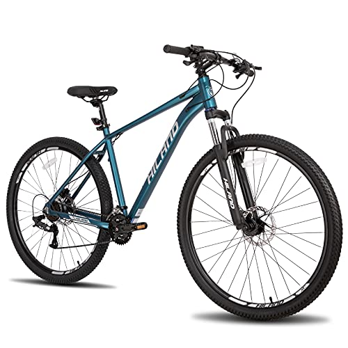 Hiland 29 Inch Mountain Bike for Men Adult Bicycle Aluminum Hydraulic Disc-Brake 16-Speed 17 Inch with Lock-Out Suspension Fork Urban Commuter City Bicycle Blue