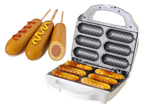J-JATI Waffel Corn Dog Maker Hot Dog Presser Maker Waffel Stick Maker Hot Dog Maker Corn Dog Machine hot Dog and Corn Dog Maker Mix Any Type of Batch SW230-W6