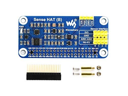 Waveshare Sense HAT (B) for Raspberry Pi Onboard Multi Powerful Sensors such as Gyroscope Accelerometer Magnetometer Barometer Temperature Humidity Sensor Communicated via I2C Interface