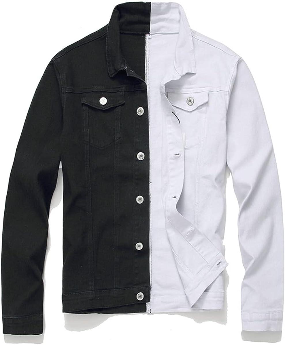 Men's Streetwear Black And White Patchwork Slim-Fit Jeans Jacket Motorcycle Hip-Hop Denim Jacket