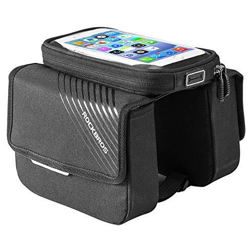 FREEML Borsa da bici touch screen borsa da sella mountain bike borsa da trave anteriore borsa per telefono cellulare accessori per attrezzature da equitazione