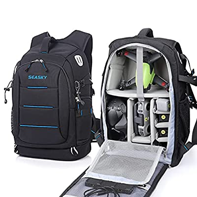 SEASKY Warrior Backpack for DJI FPV Drone Combo Mavic 2 pro Air2 Air2S FPV Racing Quadcopter SLR Camera Shoulder Bag Outdoor Portable Carry All Device in one Bag with Waterproof Rain Cover (Blue)