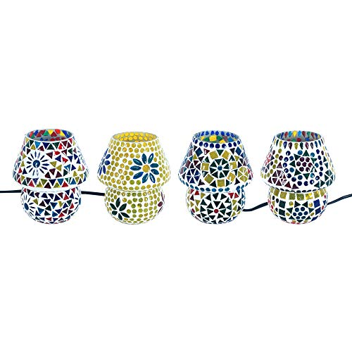 Art Deco Home - Mini-Tischlampe MOSAIK x 4, 13 cm - 3077SG