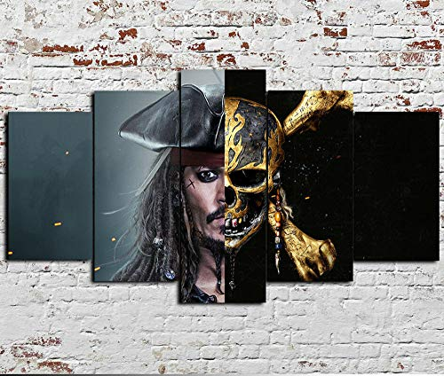 45Tdfc 5 Unidades Pictures Piratas de la película del cráneo. Painting Home Decor Modern Wall Art Canvas HD Prints Frame Modular Poster