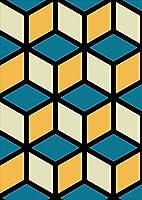igsticker ポスター ウォールステッカー シール式ステッカー 飾り 1030×1456㎜ B0 写真 フォト 壁 インテリア おしゃれ 剥がせる wall sticker poster 008573 クール チェック・ボーダー 模様 黄色 イエロー ブルー 青