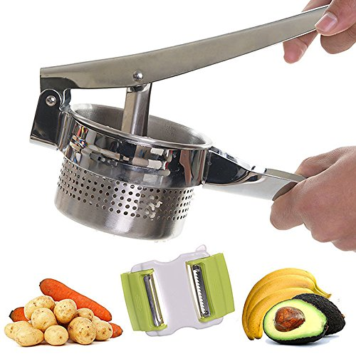 NaiCasy Kartoffelpresse, Edelstahl Kartoffelstampfer, Frucht Presse Edelstahl Kartoffelstampfer Ricer Püree Knoblauch Presser Gemüse Küche Werkzeuge