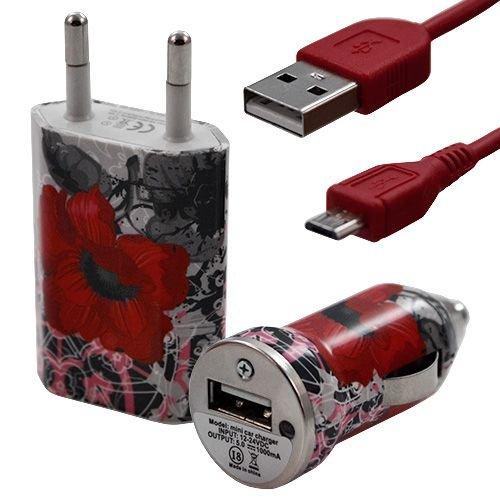 Seluxion-Cargador 3 en 1 coche y cargador con cable USB, diseño de CV01 para Acer Betouch E400 Liquid E1, %2F %2F Liquid Gallant Duo %2F Liquid Metal %2F Liquid Z2