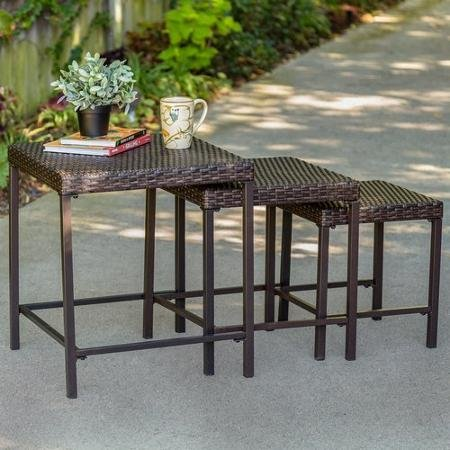 Tuscany 3-Piece Wicker Nesting Outdoor Side Table Set