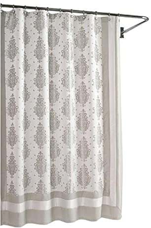 Silver and white damask shower curtain
