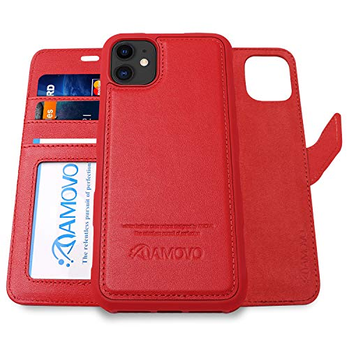 AMOVO Leather Case for iPhone 11 (6.1'') [Genuine Leather] iPhone 11 Wallet Case Detachable [2 in 1 Folio] [Wristlet] iPhone 11 Folio Case (iPhone 11, Genuine Leather Red)