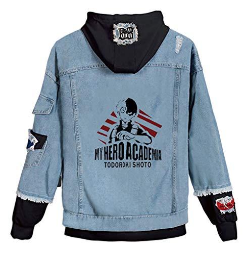 Cosstars My Hero Academia Anime Hoodie Denim Jacket Cosplay Kostüm Jeansjacke Outwear Sweatshirt Pulli Mäntel Blau/12 M
