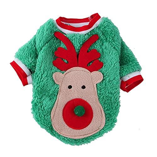 XUEJIAN Otoño Invierno Navidad Elk Ropa para Mascotas Perro Gato Jersey Terciopelo...