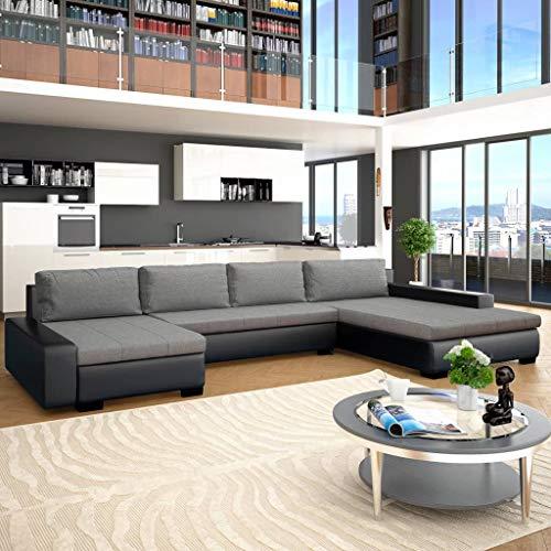 Namotu vidaXL - Sofá cama modular de piel sintética, color negro y gris claro