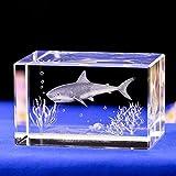 BALLYE Cristal 3D Estatua láser decoración Regalo Cristal Talla Interna Gran tiburón Blanco Adornos de Animales Acuario