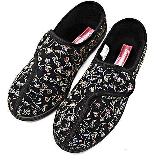 Orthoshoes Womens Diabetic Slippers Swollen Feet Embroidery House Shoes Adjustable Touch Close Strap Memory Foam Wide Width for Elderly, Seniors, Edema, Adjust - Black, 8