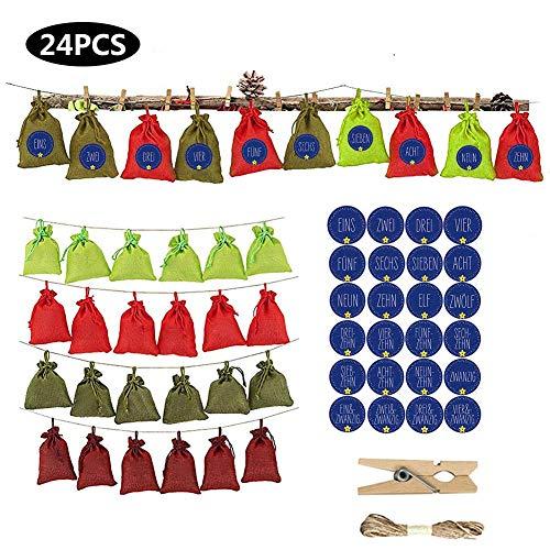 Mooderff 24 Adventskalender om te vullen - stoffen zak, snoep chocolade zak linnen opbergtas met 1-24 adventsstickers voor kinderen cadeau