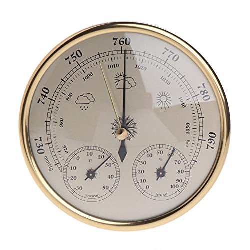 BAWAQAF Barómetro termómetro higrómetro, barómetro multifunción montado en la pared, estación meteorológica, termómetro higrómetro