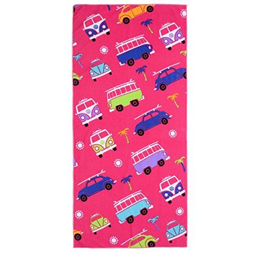 Board Masters VW Collection - Volkswagen Furgoneta Hippie Bus T1 Van & Escarabaja Toalla de Playa para niños (Rosa)