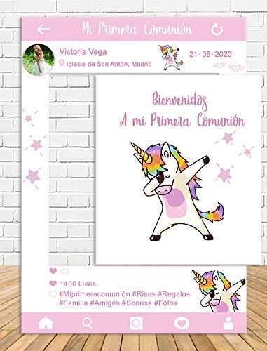 Photocall Instagram y Cartel comunión Unicornio 80x110cm Rosa  Personaliza tu Instagram de comunión  Instagram económico