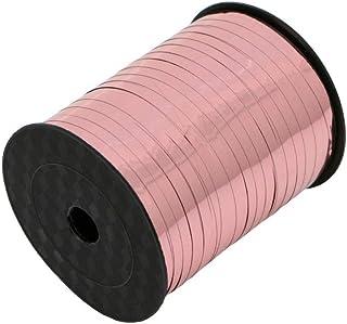 Aysekone 1 Roll 500 Yards Rose Gold Metallic Curling Ribbons Crimped Ribbon Roll Rose Gold Balloon Ribbons for Wedding Bir...