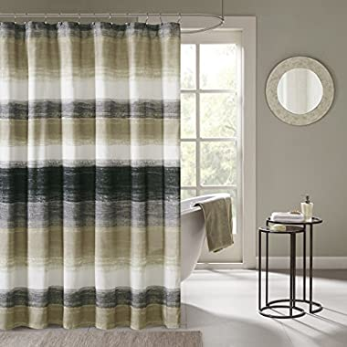 Madison Park Saben Stripes Modern Shower Curtain, Abstract Casual Shower Curtains for Bathroom, 72 X 72, Taupe