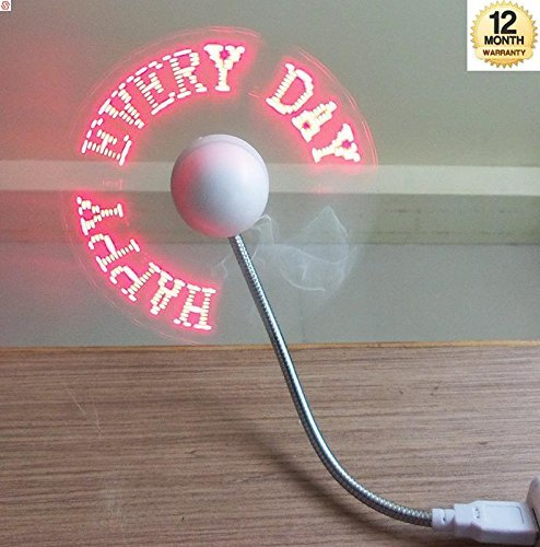 Wonderford Supreno USB Powered LED Programmable Message Fan W/Custom Drawing (RED LED)