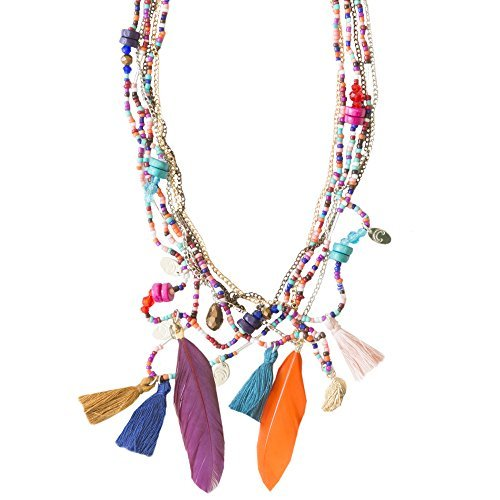Kiss Me! Topmodel Ibiza Indianer Kette Halskette Glücksbringer Bunte Quaste Federn