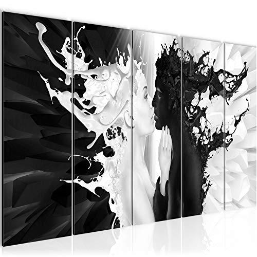 Bilder Milk und Coffee Wandbild 200 x 80 cm - 5 Teilig Vlies - Leinwand Bild XXL Format Wandbilder Wohnzimmer Wohnung Deko Kunstdrucke Schwarz Weiß - MADE IN GERMANY - Fertig zum Aufhängen 005055b