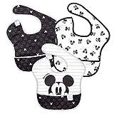 bumkins(バンキンス) ディズニーコラボビブシリーズ 油が落ちるスタイ3枚セット【日本正規品】スーパービブ 柔らかくて軽量 洗濯機で洗えてすぐ乾く お食事用防水ビブ 6~24ヶ月 Love Mickey(モノトーン) BM-S3DMK11