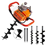 TUOKE 72cc Post Hole Digger 2 Stroke Petrol Gas Powered Earth Digger with 3 Auger Drill Bits (4' 8' & 12') + 2 Extension Rods for Farm Garden Plant