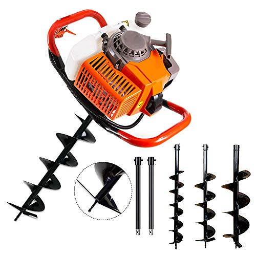 """TUOKE 72cc Post Hole Digger 2 Stroke Petrol Gas Powered Earth Digger with 3 Auger Drill Bits (4"""" 8"""" & 12"""") + 2 Extension Rods for Farm Garden Plant"""