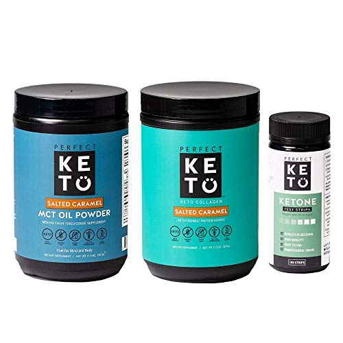 Perfect Keto Bundle - Collagen (Salted Caramel), MCT Oil C8 Powder (Salted Caramel), Ketone Test Strips (100 Strips) | Best to Burn Fat and Support Energy | 30 Day Supply