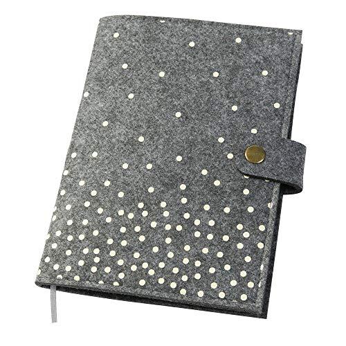 Mutterpasshülle mit Punkten für Mutterpass aus Filz grau (Farbe wählbar) Design Hülle für deutschen Mutterpass mit Druckknopfverschluss